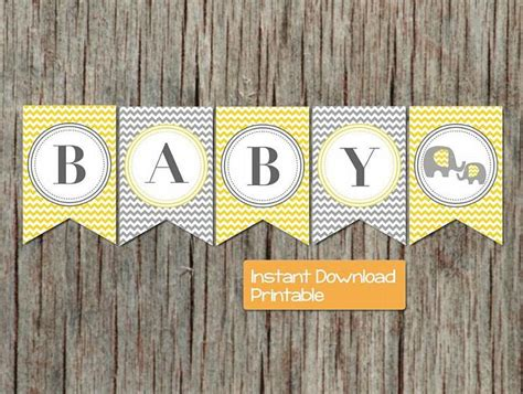 baby shower banner yellow grey  bumpandbeyonddesigns
