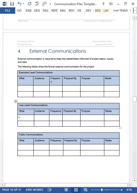 communication plan templates ms word  spreadsheets