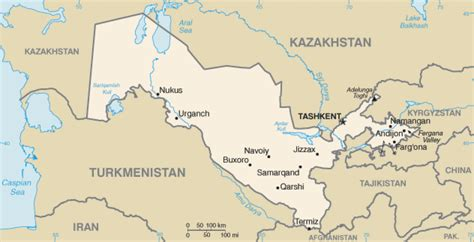 map  uzbekistan terrain area  outline maps