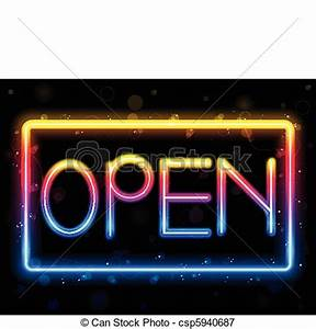 Open Neon Sign Rainbow Color Royalty Free EPS Clip Art