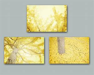 Yellow wall art set of three yellow tree by for Yellow wall decor
