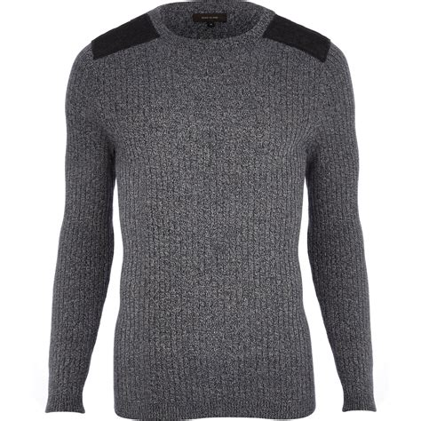 patch sweater river island navy twist knit ribbed shoulder patch sweater
