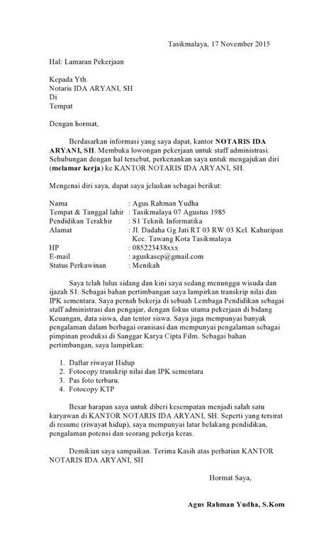 Contoh Surat Lamaran Se 2017 by Contoh Surat Lamaran Kerja Ke Notaris Terbaru 2017 Susan