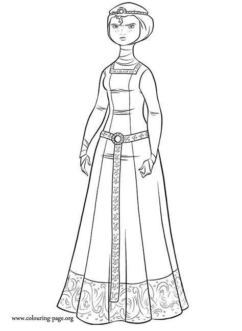 brave merida dressed   princess coloring page