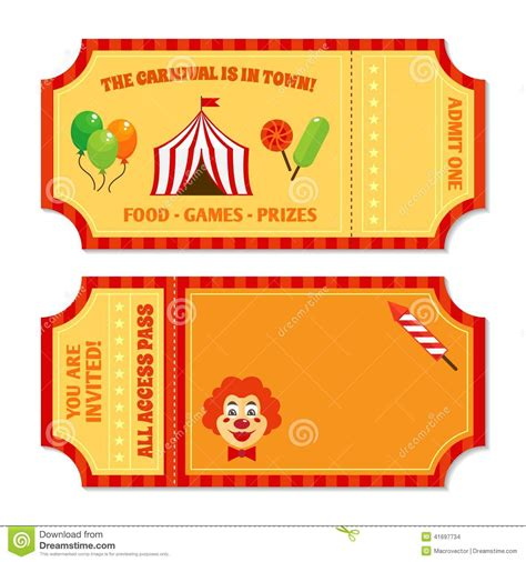 carnival ticket template circus tickets template stock vector illustration of business 41697734