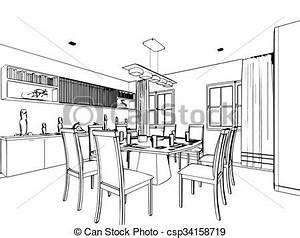 Dessin Intérieur Maison : croquis contour maison perspective int rieur dessin ~ Preciouscoupons.com Idées de Décoration