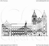 Landmark Drawing Line Brazilian Sao Vector Monastery Clipart Styled Illustration Bento Royalty Tradition Sm Clip sketch template