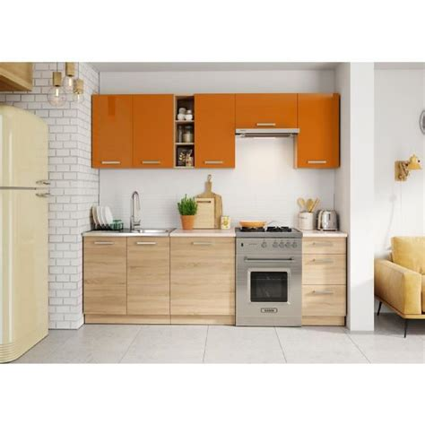cuisine lena 2m40 7 meubles orange beige achat