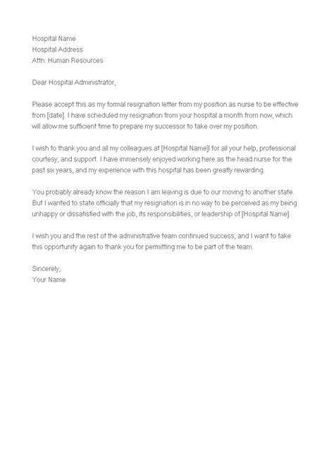 Sample Of Resignation Letter For Staff Nurse   Templates at allbusinesstemplates.com