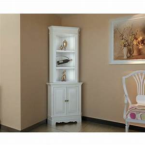 Corner display cabinet wooden shelf shabby chic unit white for Corner units living room furniture