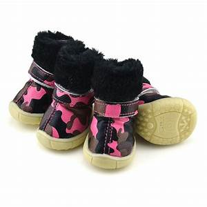Camo pu leather dog shoes winter dog boots pink petsoocom for Shoes for my dog