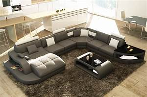 canape d39angle en cuir italien 8 places nordik gris fonce With tapis berbere avec grand canape angle 8 places