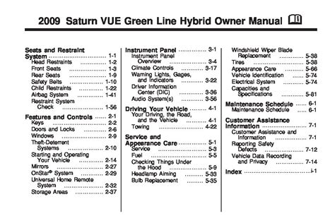 Saturn Vue Hybrid Owners Manual Just Give The