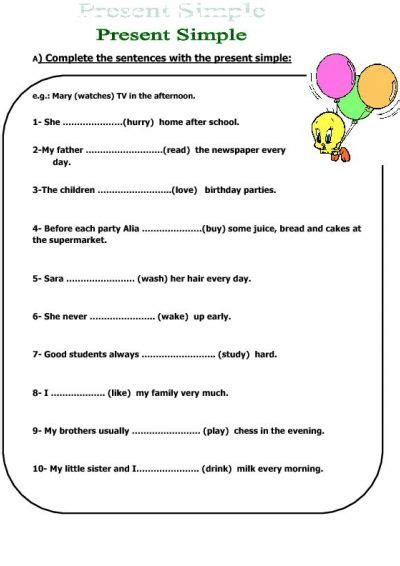 simple present tense worksheet activities
