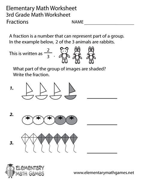 grade fractions worksheet