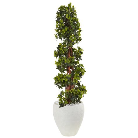 topiary trees indoor nearly natural indoor outdoor english ivy topiary artificial tree in white oval planter uv