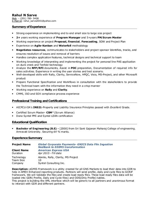 Experienced Project Manager Resume by Project Manager Mainframe Resume Writingfixya Web Fc2