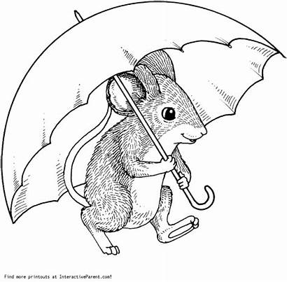 Coloring Under Mouse Umbrella Pages Cartoon Dover