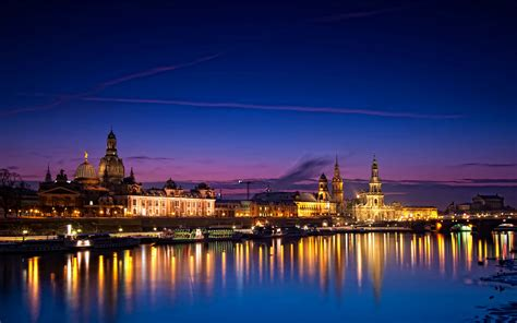 dresden city night house river germany hd desktop