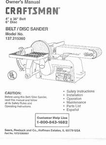 Craftsman 137215360 User Manual 4 X 36 Belt  Disc Sander