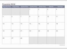 Calendário fevereiro 2018 para imprimir iCalendáriopt