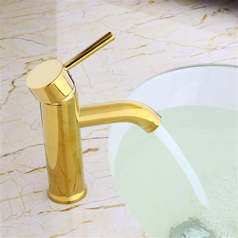 Modern Gold Bathroom Faucets by Brewst Modern Single Handle Solid Brass Bathroom Sink