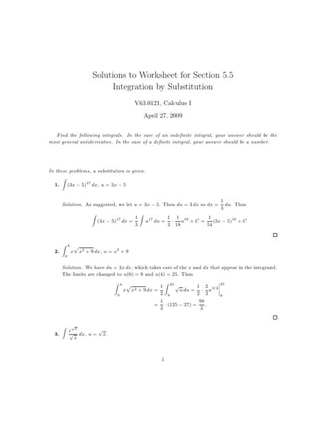 lesson 27 integration by substitution worksheet solutions