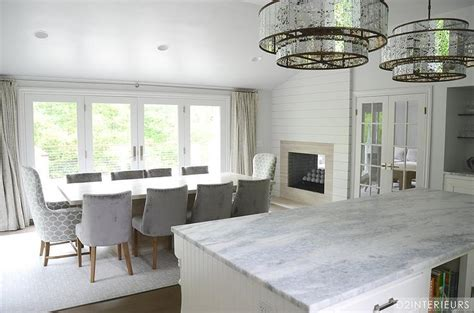 Dining Room with Double Sided Fireplace   Contemporary
