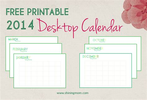 printable  desktop calendar