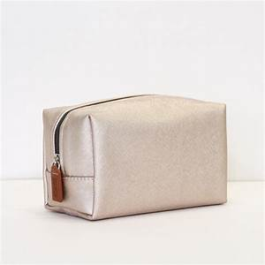 Rose Gold Metallic Cube Cosmetic Bag Caroline Gardner
