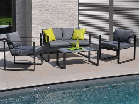 canap de jardin aluminium salon de jardin bas en aluminium quot mekano quot 2 fauteuils