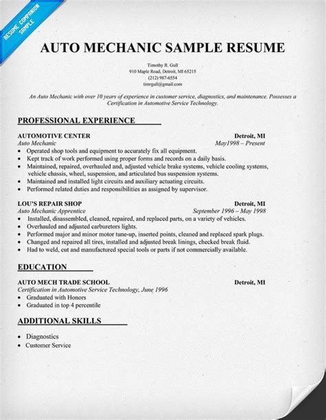 13 auto mechanic resume sle zm sle resumes zm