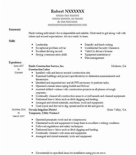 Sle Resume For A Construction Worker by Construction Labor Objectives Resume Objective Livecareer
