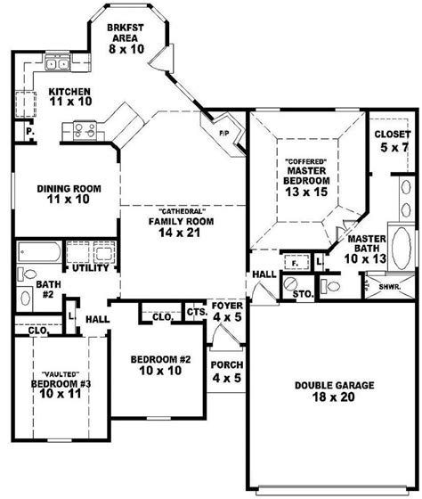 3 Bedroom 2 Bath House by 654060 One Story 3 Bedroom 2 Bath Style House