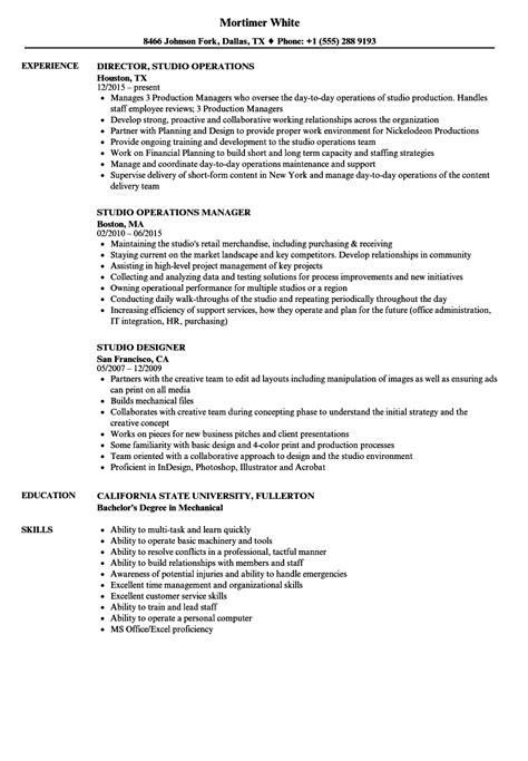 studio resume samples velvet jobs