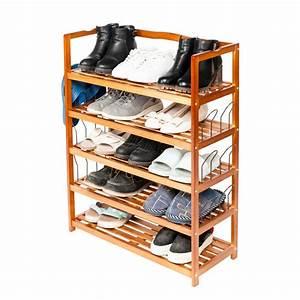 5, Tier, Shoe, Organizer, For, Closets, Shoe, Storage, Solid, Wood, Shoe, Shelf, Heavy, Duty, Boot, Rack