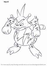 Pokemon Electabuzz Draw Step Drawing Anime Drawingtutorials101 Tutorials sketch template