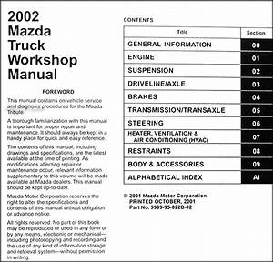 2002 Mazda Pickup Truck Repair Shop Manual Original B2300