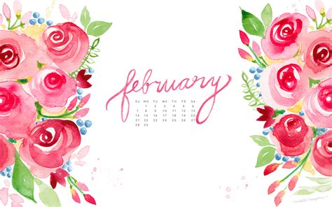 February Watercolor Calendar Desktop Download   MOSPENS STUDIO