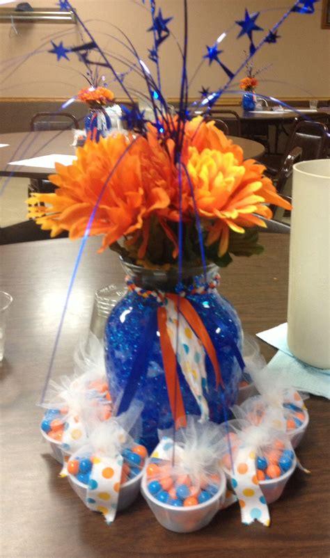 royal blue and orange bridal shower centerpieces bridal