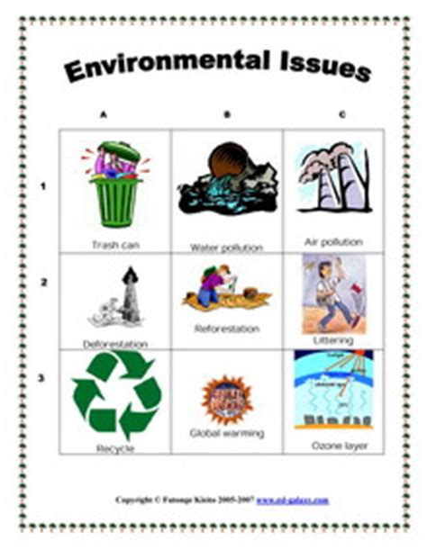esl vocabulary printable worksheets environment