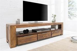 Lowboard Tv Holz : massives tv board makassar 170cm lowboard sheesham mit drei schubladen einzigartige maserung ~ Orissabook.com Haus und Dekorationen