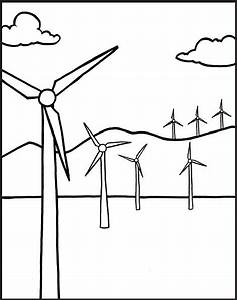 windmill clip art black and white sketch coloring page With wind power