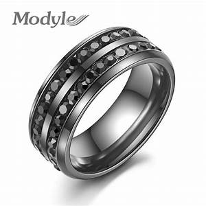 modyle 2016 new fashion men rings black crystyal rings With black stainless steel wedding rings