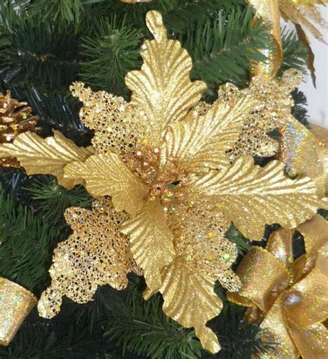 2017 Christmas Flower Poinsettia Large Golden Flowers 22cm