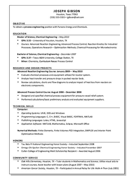 Process Engineer Resume Template by Process Engineer Resume Exle Resumes Design