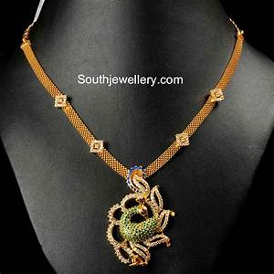 Gold Necklace with CZ Peacock Pendant - Jewellery Designs