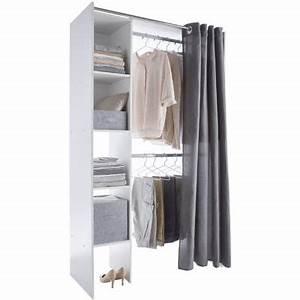 Dressing Tout En Un Avec Rideau : dressing tout en un blanc avec rideau castorama ~ Teatrodelosmanantiales.com Idées de Décoration
