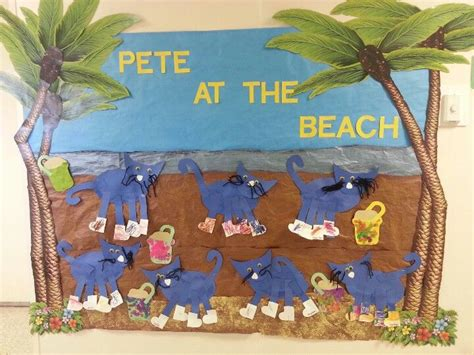 pete  cat    beach preschool bulletin