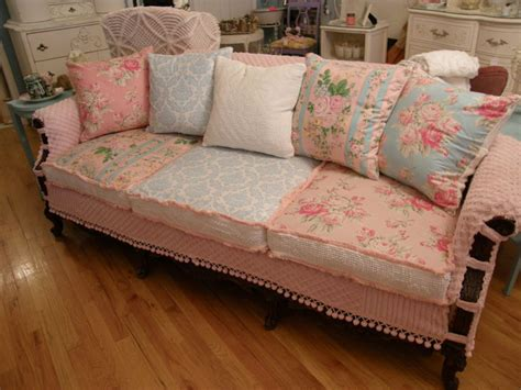 shabby chic slipcovered sofa vintage chenille  roses